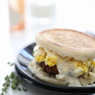 Chorizo Sausage Egg Breakfast Sandwich with Gravy.
