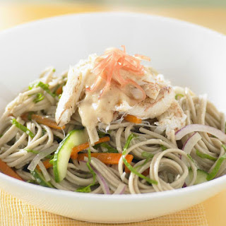 Crab and Soba Noodle Salad with Ginger Miso Dressing.