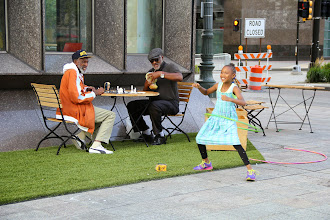 Photo: A young fan showing up her happy dance after receiving #GarrettPopcorn!