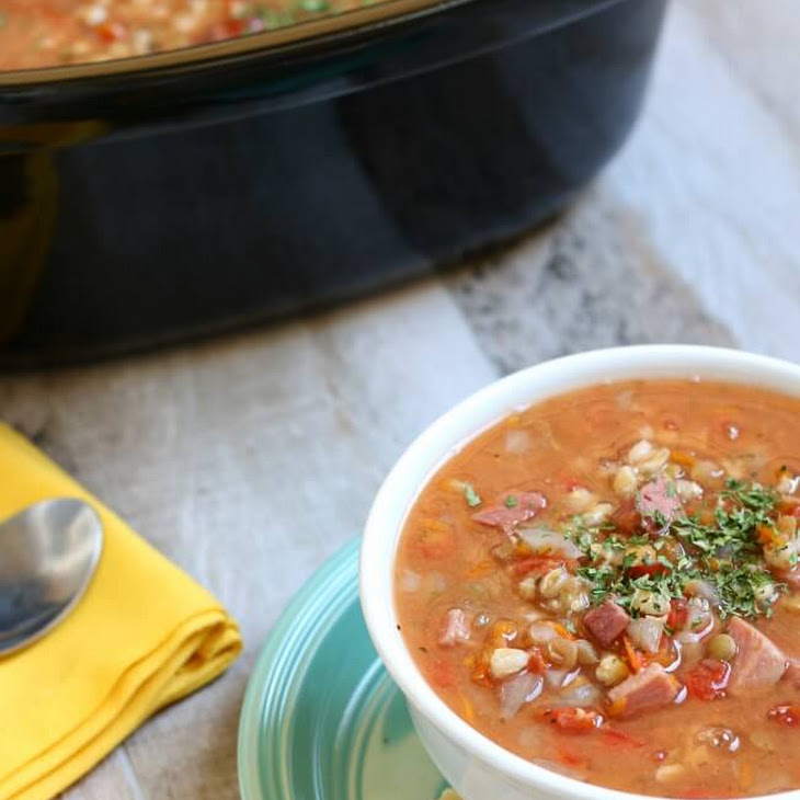 slow cooker ham lentil and barley soup from 365 days of slow cooking ...