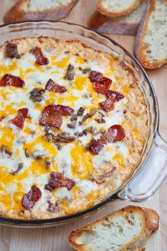 "Bacon Double Cheese Burger Dip ""A hot cheesy baked dip with all..."