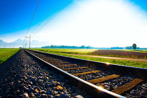 railway track by Dominik Konjedic - Transportation Trains ( field, line, railway track )
