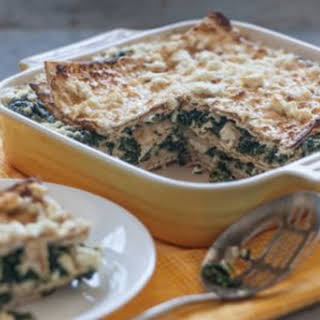 Spinach and Feta Matzoh Pie.