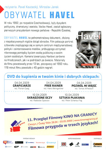 Tył ulotki filmu 'Obywatel Havel'