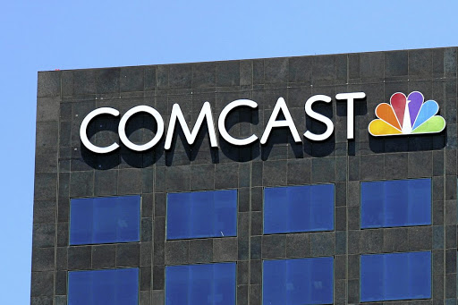 The Comcast NBC logo on a building in Los Angeles. Picture: REUTERS