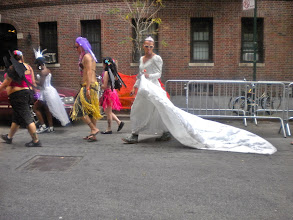 Photo: Gay pride festivities, Barrow Street between Hudson and Commerce streets, Greenwich Village, 26 June 2011. (Photograph by Elyaqim Mosheh Adam.)