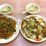 fried noodles and pork dish, both $2 each in Shanghai, Shanghai, China