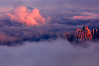 Photo: I think the Italian Dolomites are one of the most beautiful mountain ranges in Europe. Sunset is often more beautiful than sunrise as clouds usually appear in late afternoon. Of course there is a risk that you won't see the sunsets through the clouds but I was lucky this time.