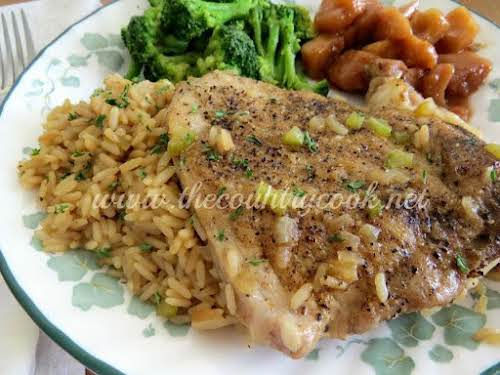 "Country Pork Chops and Rice ""Oh My Goodness! I made this. This..."