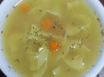 Internet Picture -- Hard To Find Chicken Broth With The Same Ingredients, But This Is Similar, Of Course After The Addition Of The Noodles And Carrot (probably With Celery And Onion, Too).