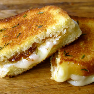 Brie, Fig Jam, and Poundcake Grilled Cheese With Rosemary Butter.
