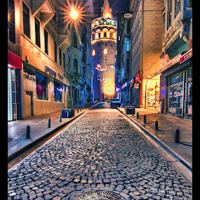 Galata Tower by Mohamed Alzwei - Buildings & Architecture Public & Historical ( tower, hdr, street, night, istanbul, turkey )