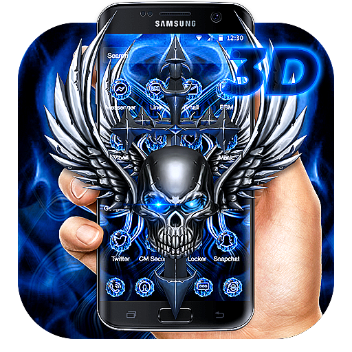 3D Blue Tech Angel Skull Theme