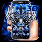 3D Blue Tech Angel Skull Theme icon
