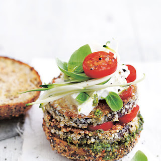 Crispy Eggplant And Pesto Burger
