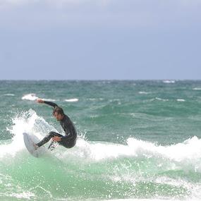 Surfing by Denis Sinoussi - Sports & Fitness Surfing ( skyline, surfing, waves, sport, beach, surf )