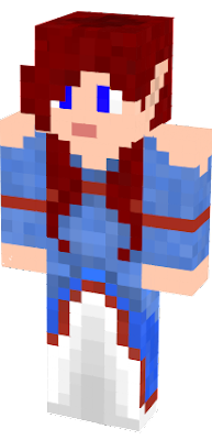 Red haired Elf with blue dress