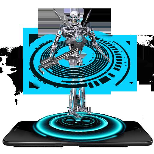 Gun Robot Neon Tech Hologram (app)