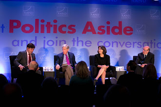 """Photo: Panelists during the """"Financial Regulation: Fixing Too Big to Fail"""" panel discussion Friday, Nov. 16, 2012 at the RAND Politics Aside event in Santa Monica, Calif. (Left to right:) Moderator Rob Cox, Robert Wilmers, Sheila Bair and Kenneth Feinberg."""
