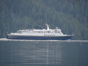 Photo: The Alaska Ferry heads north up Graham Reach as seen from my campsite in Green Inlet.