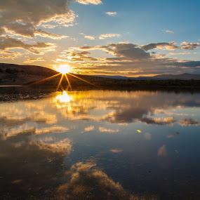 Shugru Sunset by Mike Lee - Landscapes Sunsets & Sunrises ( serenity, reflection, beauty, nature, sunburst, clouds, peaceful, beautiful, shurgru, reflect, outdoors, beautiful sunset, sunset, shugru reservoir, lake, serene, beautiful reflection,  )