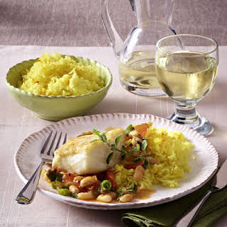Cod Fillets with Herbed Cannellini Beans and Saffron Rice.