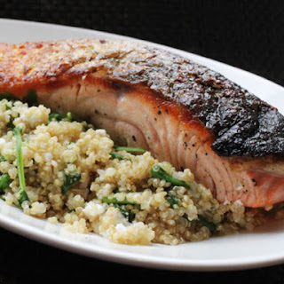 Skillet Salmon With Quinoa, Feta, and Arugula.