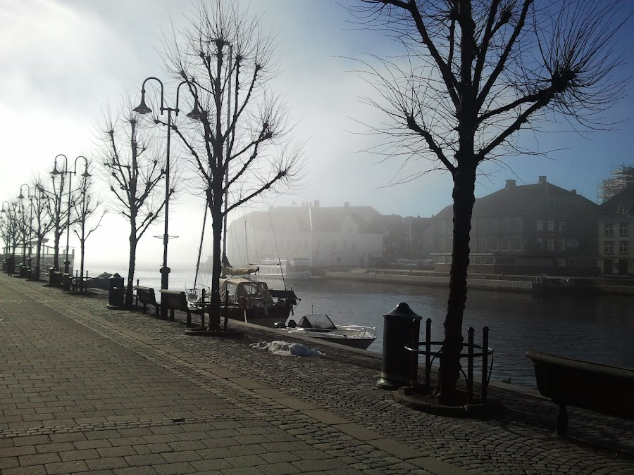Arendal Norway by Liliana Lesu - City,  Street & Park  Street Scenes ( water, silent, city view, fog, norway landscape, street, morning, norway )