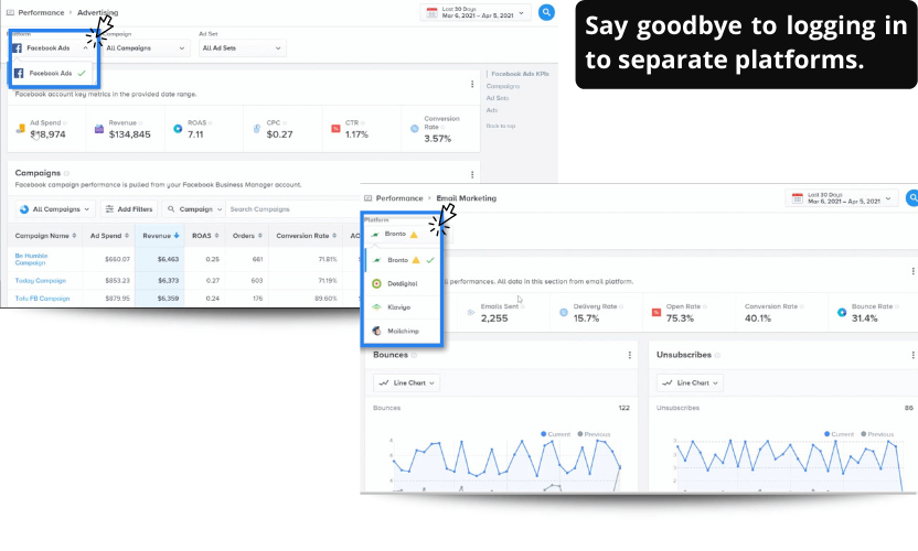 Email and advertising reports within BI software Insights offer the option to choose the integration.