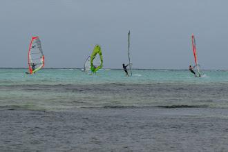 Photo: windsurfers on Lac Bay