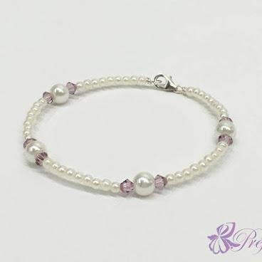 [PLC020] 簡約風珍珠水晶手鐲 (暗紫)