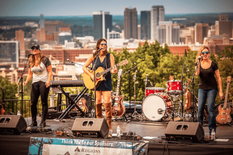 Band singing on stage with downtown Birmingham in background