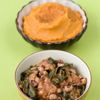 Hottie Black Eyed Peas With Ginger Mashed Sweet Potatoes & Apples.