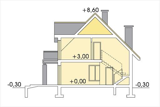 Słoneczko 2 wersja C z podwójnym garażem - Przekrój