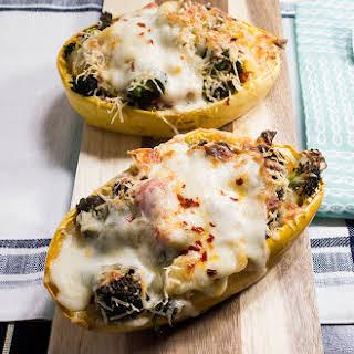 Broccoli Cheese Stuffed Grilled Spaghetti Squash.