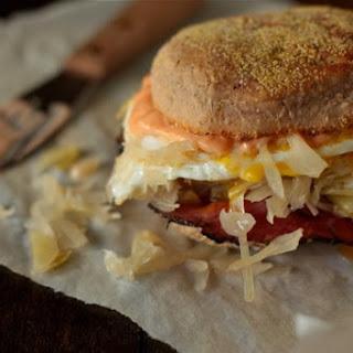 Reuben Breakfast Sandwich on Pumpernickel English Muffins