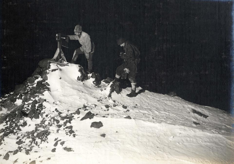 Photo: Wilson and Bowers taking a -40 degC reading from an exposed thermometer near the main base at Cape Evans on 7 June 1911. Image courtesy of the Royal Geographical Society.