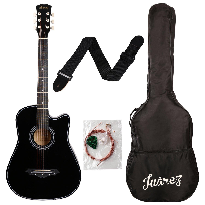 Juarez Acoustic 38 Inch Cutaway Guitar 038C With Bag, Strings