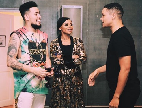 Bonang and AKA backstage with Trevor Noah