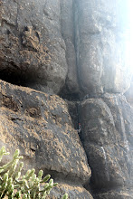 Photo: Richie Kher looking up to the rest of the route as he moves through the P1 chimney. It's big! (Courtesy Ajit Bobhate)