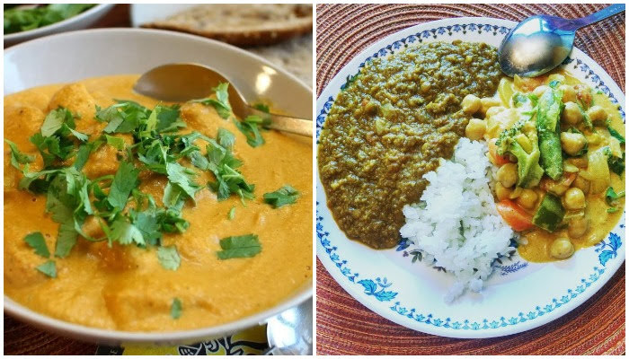 butter chicken, dal, chickpea curry