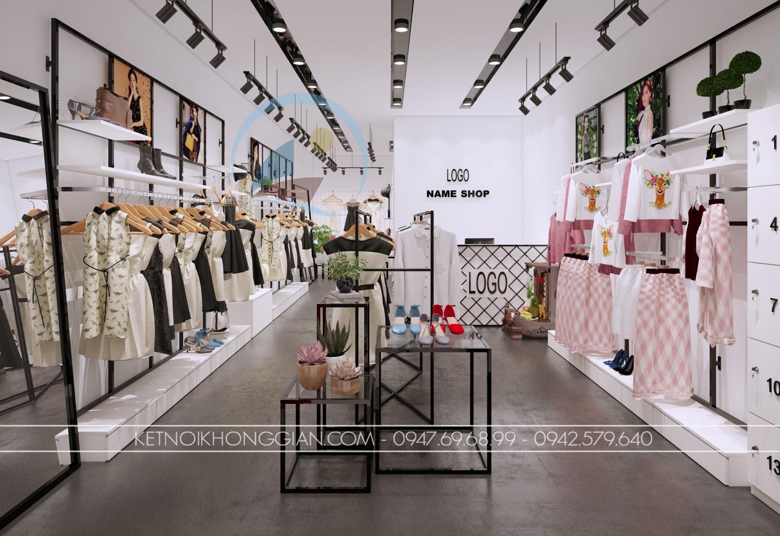thiết kế shop thời trang giá rẻ hiện đại