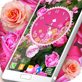 Roses Analog Clock Wallpaper