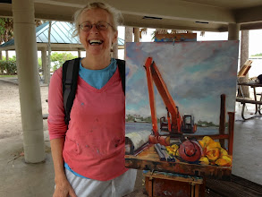 Photo: Elfrida Schragen with her painting at the Boynton Inlet