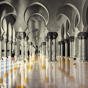 Mosque Reflection by Jon Jon Moralita - Buildings & Architecture Architectural Detail ( religion, reflection, sheikh zayed grand mosque, architectural photography, mosque, balck and white, abu dhabi, landscape, ramadan )