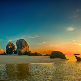 Sunrise at Belitung by Mpe'- Indra Prameswara - Landscapes Waterscapes
