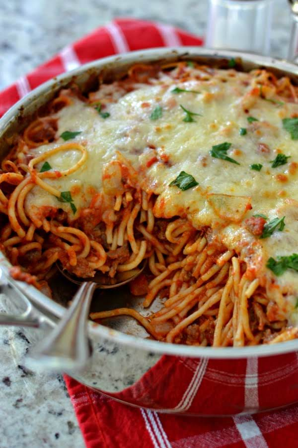 Baked Spaghetti Is An Easy Family Friendly Meal That Combines Italian Sausage, Marinara And Mozzarella.