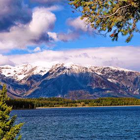 Mountains and Lake by Amada Gonzalez - Landscapes Mountains & Hills ( mountains, waterscape, lake, landscape, woods )