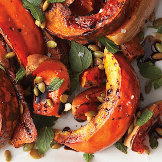 Roasted Squash with Mint and Toasted Pumpkin Seeds.