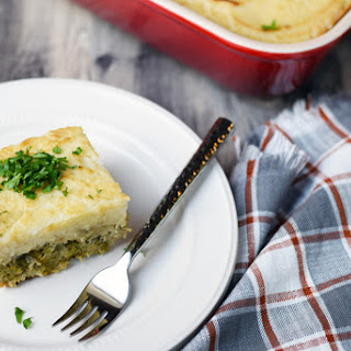 Turkey, Broccoli & Mashed Cauliflower Layered Casserole.